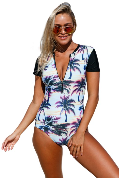 Linnea Women's Zip Front Printed Half Sleeve One Piece Swimwear Black