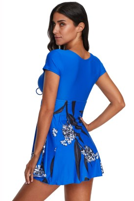 Naomi Women's Floral Printed Short Sleeve Tankinis Swimsuit with Boyshort Blue