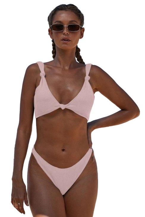 Orly Women's Knotted Two Piece Push up Bikini Swimsuit Pink