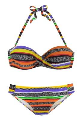 Everly Women's Boho Stripes Push up Bikini Swimsuits Set Black