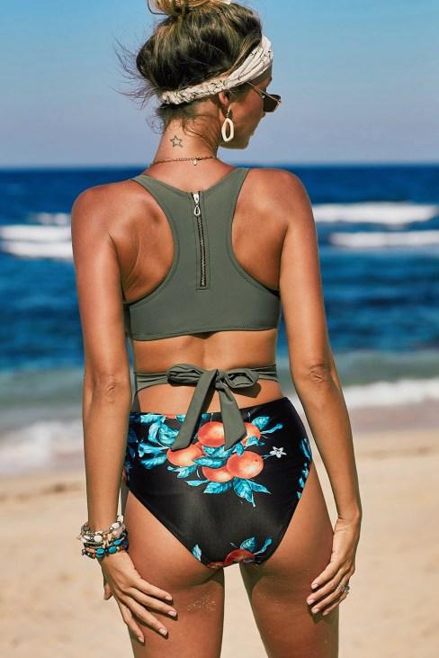 Serena Women's Zipped Racerback One-Piece Maillot Swimwear Green