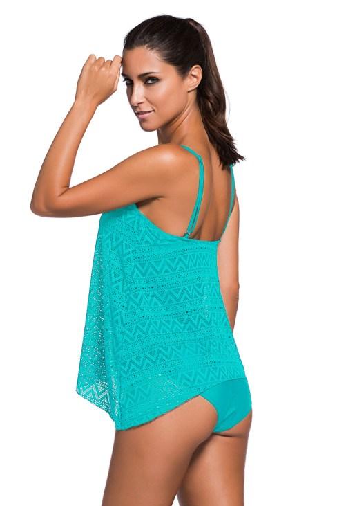 Abigail Women's Two Piece Lace Overlay Shoulder Straps Tankini Swimsuit Black