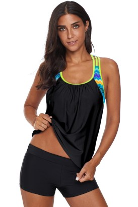 Suzanne Womens Printed Strappy Push up Tankini Top with Shorts Black