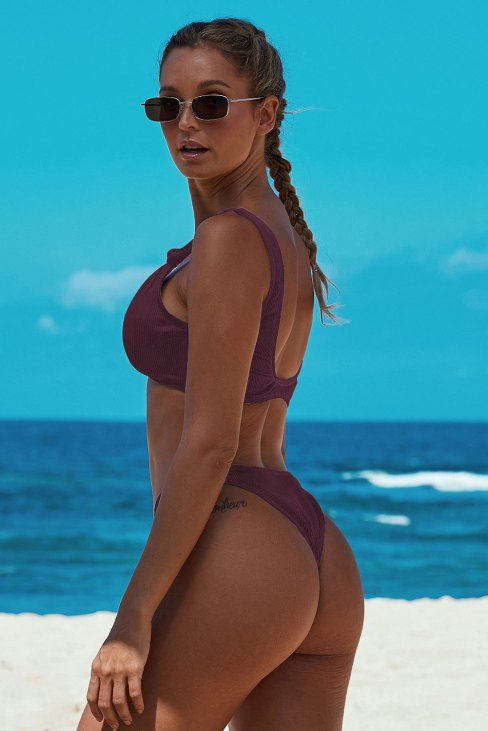 Sybil Women's Knotted Two Piece Push up Bikini Swimwear Fuchsia