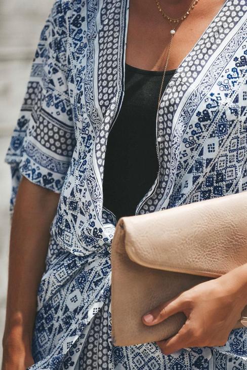 Tahiti Women's Bohemian Open Front Tie Kimono White Black
