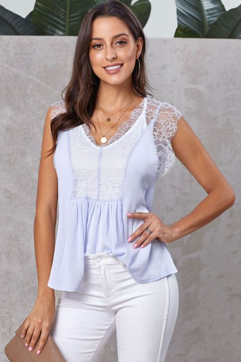 Lucinda Women's V Neck Lace Strappy Casual Loose Sleeveless Cami Tank Tops White