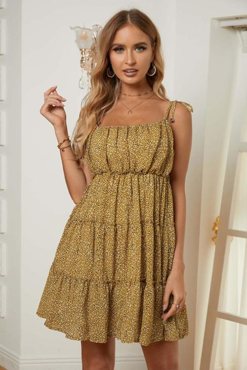 Aidy Print A-line Layered Ruffled Straps Floral Dress Yellow