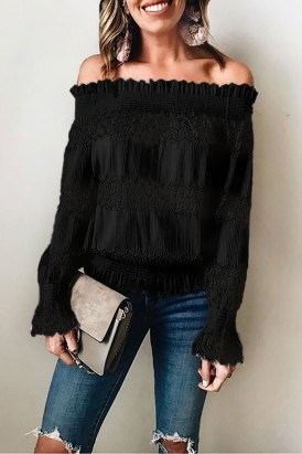 Alexis Off Shoulder Ruffle Long Sleeve Smocked Waist Lace Crochet Blouse Black