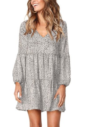Billie Women's V-Neck Ruffle Long Sleeve Loose Tunic Dress White