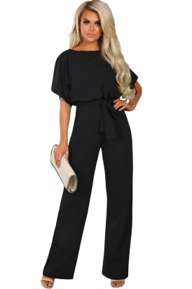 Citrine Women's Slash Neck Tie Waist Belt Batwing Sleeve Wide Leg Jumpsuit Black