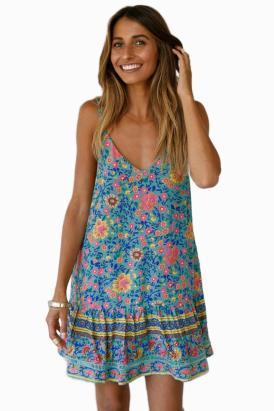 Cobie Slip-on Boho Floral Print Shoulder Straps Ruffles Dress Blue Yellow