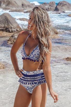 Haley Women's Print Stripe Tassel High Waist Bikini Swimsuit Black