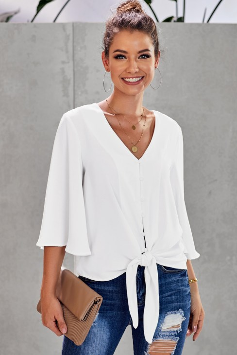 Elodie Women's Casual 3/4 Tiered Bell Sleeve V Neck Loose Tops Blouses Shirt White