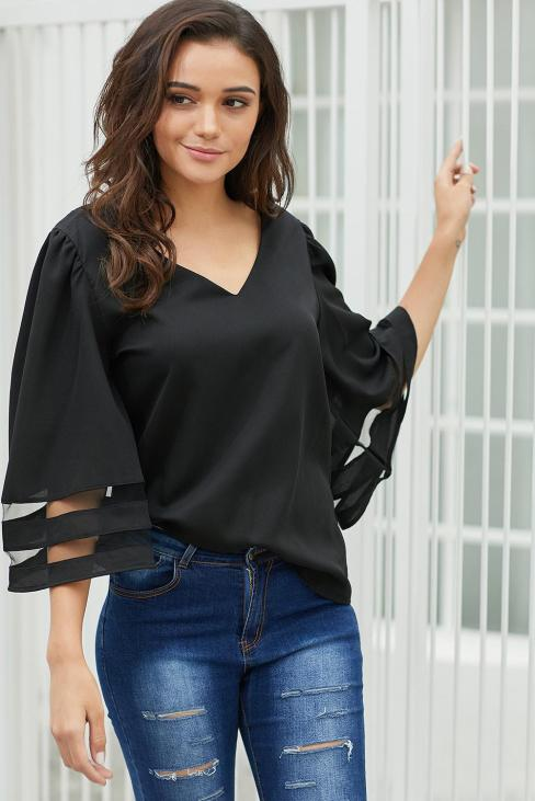 Adrienne Sexy V Neck Flare Sleeve Loose Blouse White