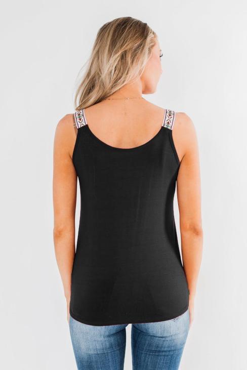 Ionia Women's Scoop Neck Strappy Sleeveless Twist Tank Tops Black