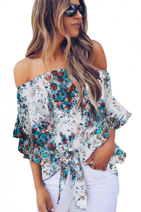 Letty Women's Off Shoulder Floral Print Tie 3/4 Sleeves Chiffon Blouse White