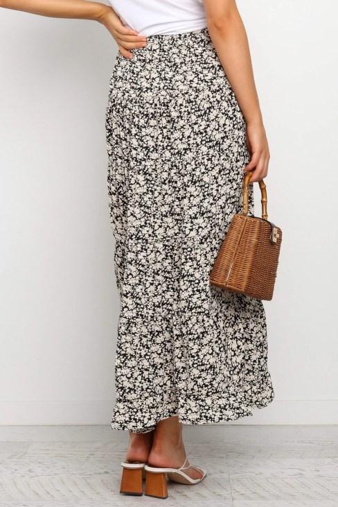 Lisa Women's High Waisted Floral Print Beach Boho Skirt Asymmetrical Dress Black
