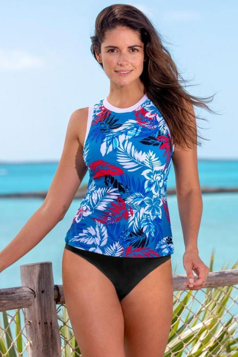 Elle Floral Print High Neck Strappy Tankini With Shorts White
