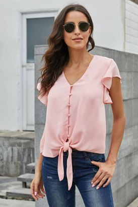 Lynnie Women's Deep V Neck Flutter Sleeve Button Down Front Tie Casual Tops Shirts Pink