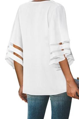 Monaco Women's 3/4 Flare Sleeve V Neck Button Down Blouse White