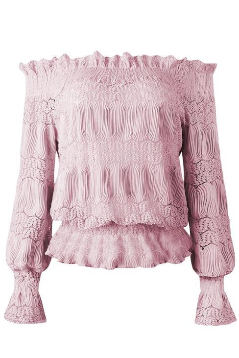 Alexis Off Shoulder Ruffle Long Sleeve Smocked Waist Lace Crochet Blouse Black