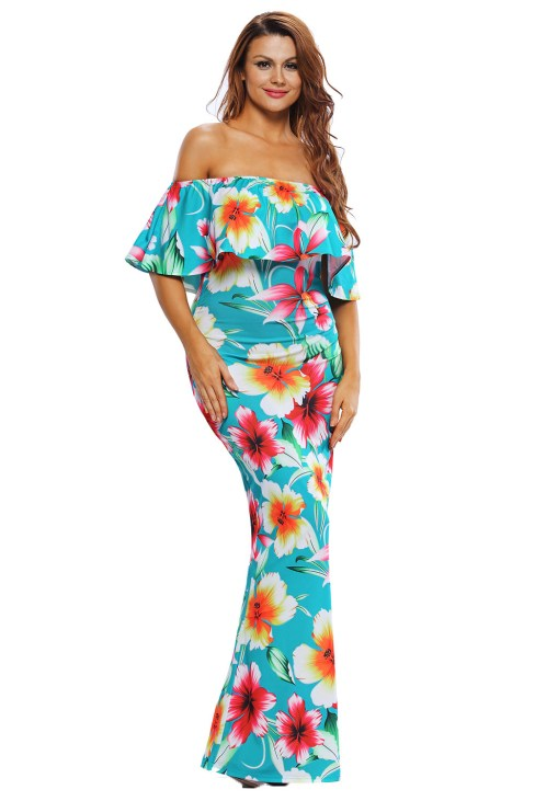 Colleen Women's Tropical Print Off Shoulder Evening Party Maxi Dress
