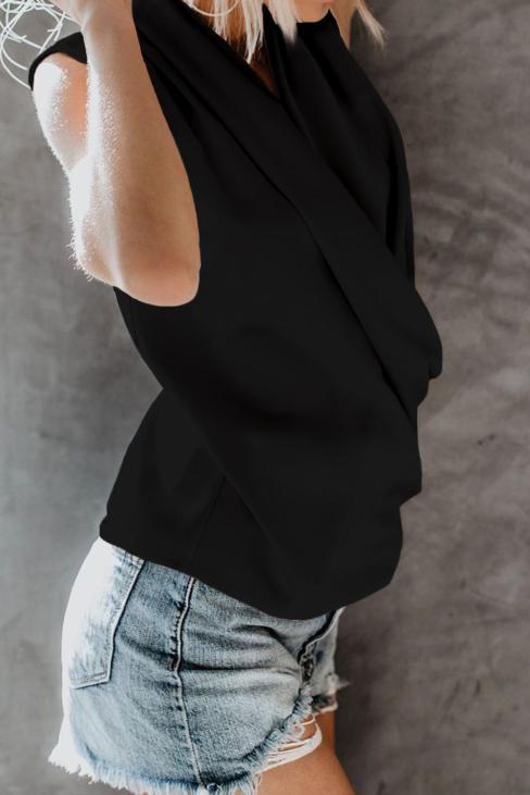 Sadie Women's V-Neck  Summer Sleeveless Loose Wrap Drape Tank Tops Black