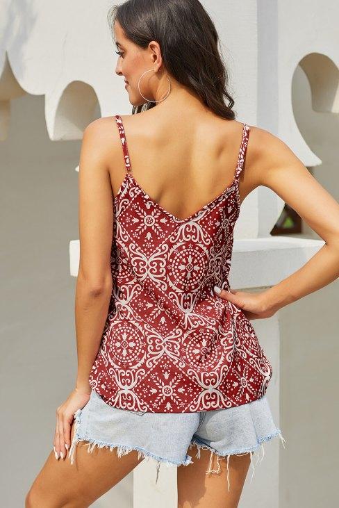 Tania Womens V Neck Spaghetti Strap Sleeveless Boho Print Tank Tops Red