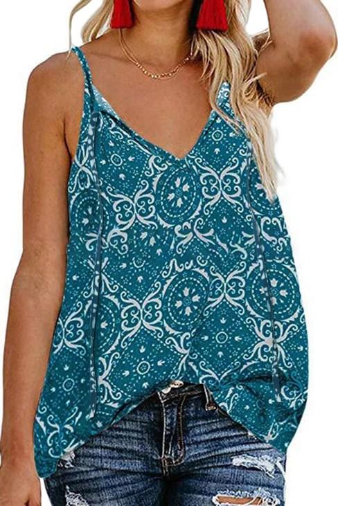 Vicky V-Neck Casual Floral Print Spaghetti Strap Sleeveless Boho Tank Tops Blue
