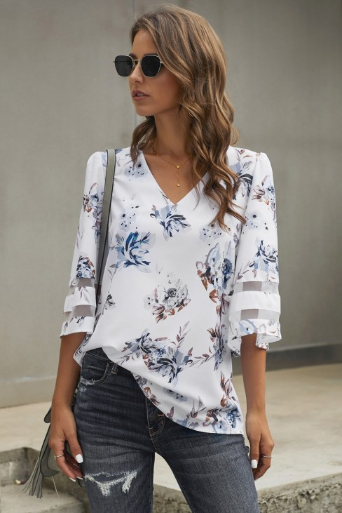 Jonquil Women's V-Neck 3/4 Flared Sleeve Floral Blouse Apricot