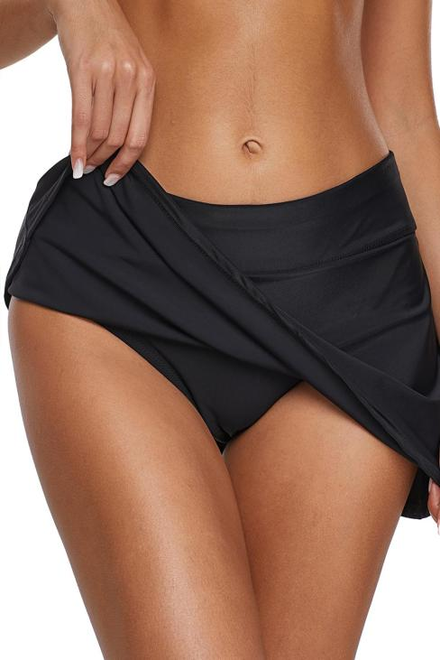 Amber Women's Swim Skirt Solid Color Waistband Bikini Bottom Black