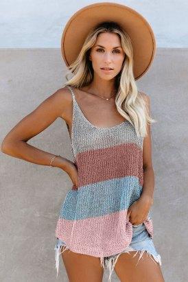 Vanna Summer O-Neck Sleeveless Relaxed Sheer Knit Cami Tank White