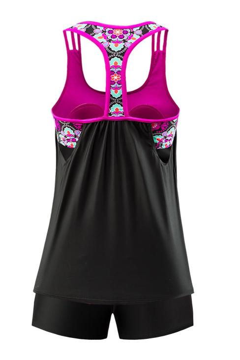 Tilda Floral Print Strappy Tankini Top with Swim Bottom Black