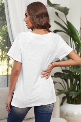 Viola Women's V Neck Short Sleeves Cotton Blend Tee with Front Pocket and Side Slits White