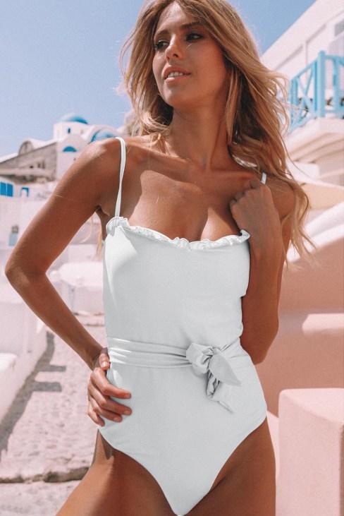 Puka Frill Neck Waist Sash Spaghetti Straps One-piece Swimwear White