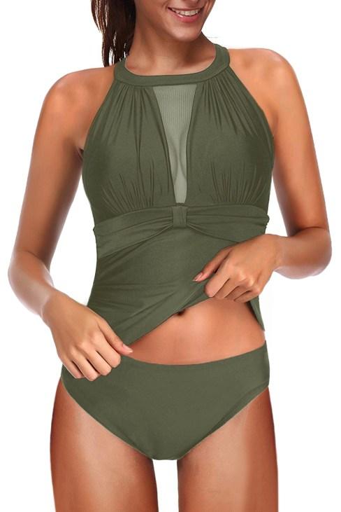 Ripley Women's High Neck Plunge Mesh Tankini Set Two Piece Swimsuit Green
