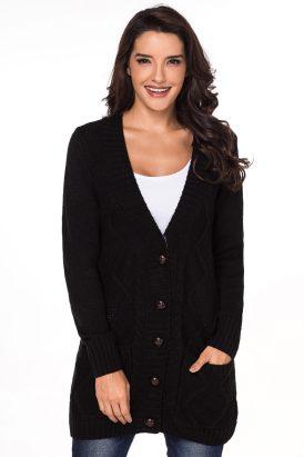Annette Women's Open Front Pocket Button Down Cardigan Sweater Black