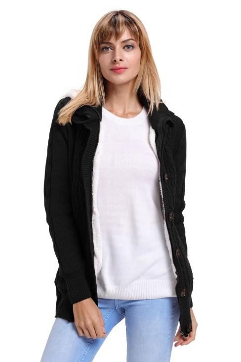 Aderyn Women's Long Sleeve Button-up Hooded Cardigans Black
