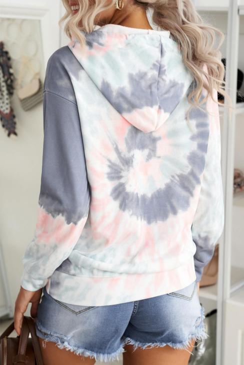 Bias Women's Tie Dye Print Pullover Hoodie Multicolor
