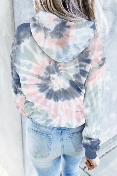 Sissel Women's Tie Dye Print Pullover Hoodies Blue