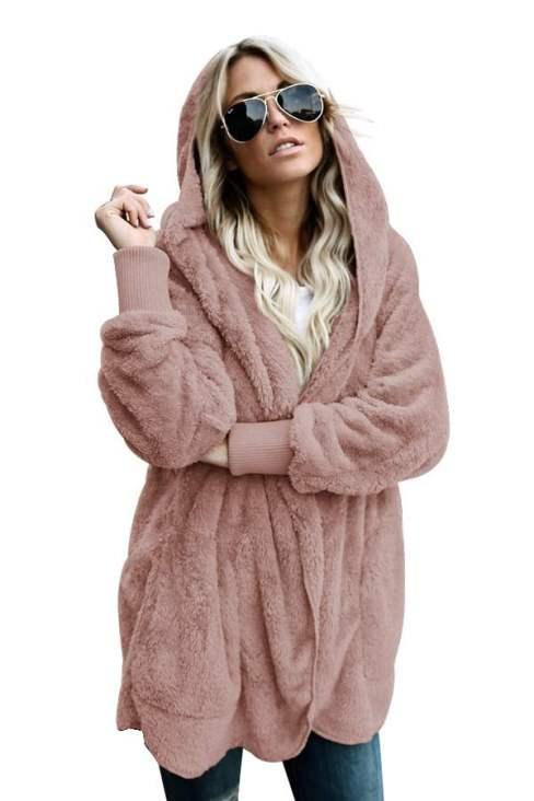 Charley Women's Soft Fleece Hooded Open Front Long Sleeve Cardigan White