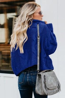 Eura Women's Cuddle Weather Cable Knit Handmade Turtleneck Sweater Black