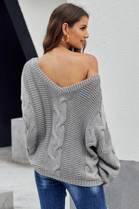 Corey Women's Bubblegum V-Neck Braided Knit Sweater Black