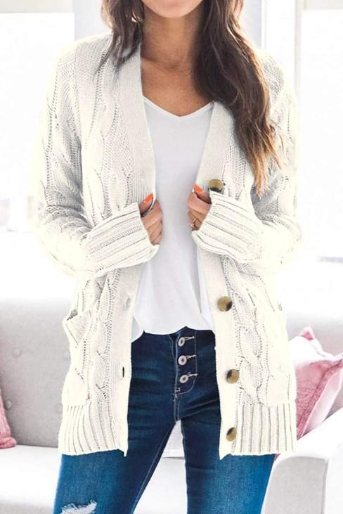 Lindsey Womens Cardigan Knitwear Sweater White