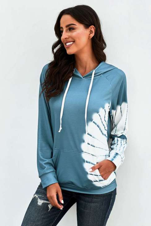 Melody Women's Oversized Pocket Front Hoodie Blue