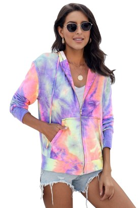 Neena Women's Tie Dye Pocket Zip Up Hoodie Sky Blue