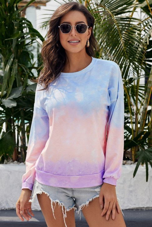 Tarian Women's Color-Block Tie Dye Long Sleeve Pullover Sweatshirt Black