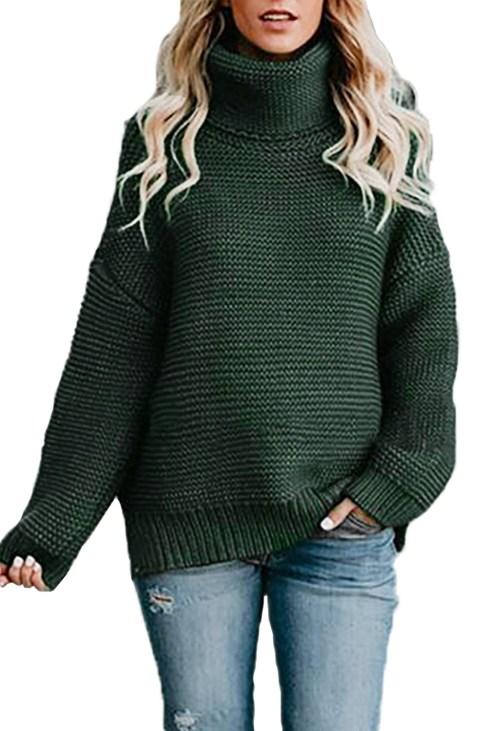 Zoe Women Cozy Long Sleeves Turtleneck Sweater Sage Green