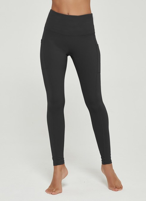 Zosime Women's High Waist Workout Yoga Pants with Pockets Dark Gray