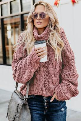 Mona Womens Cable Knit Handmade Turtleneck Sweater Pink